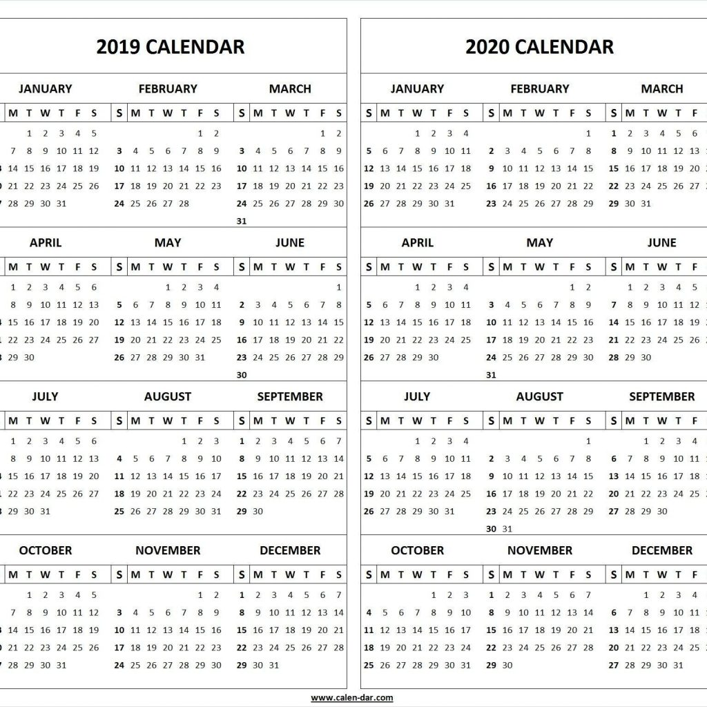 Two Year Calendar 2019 And 2020 With Und Printable Template Home