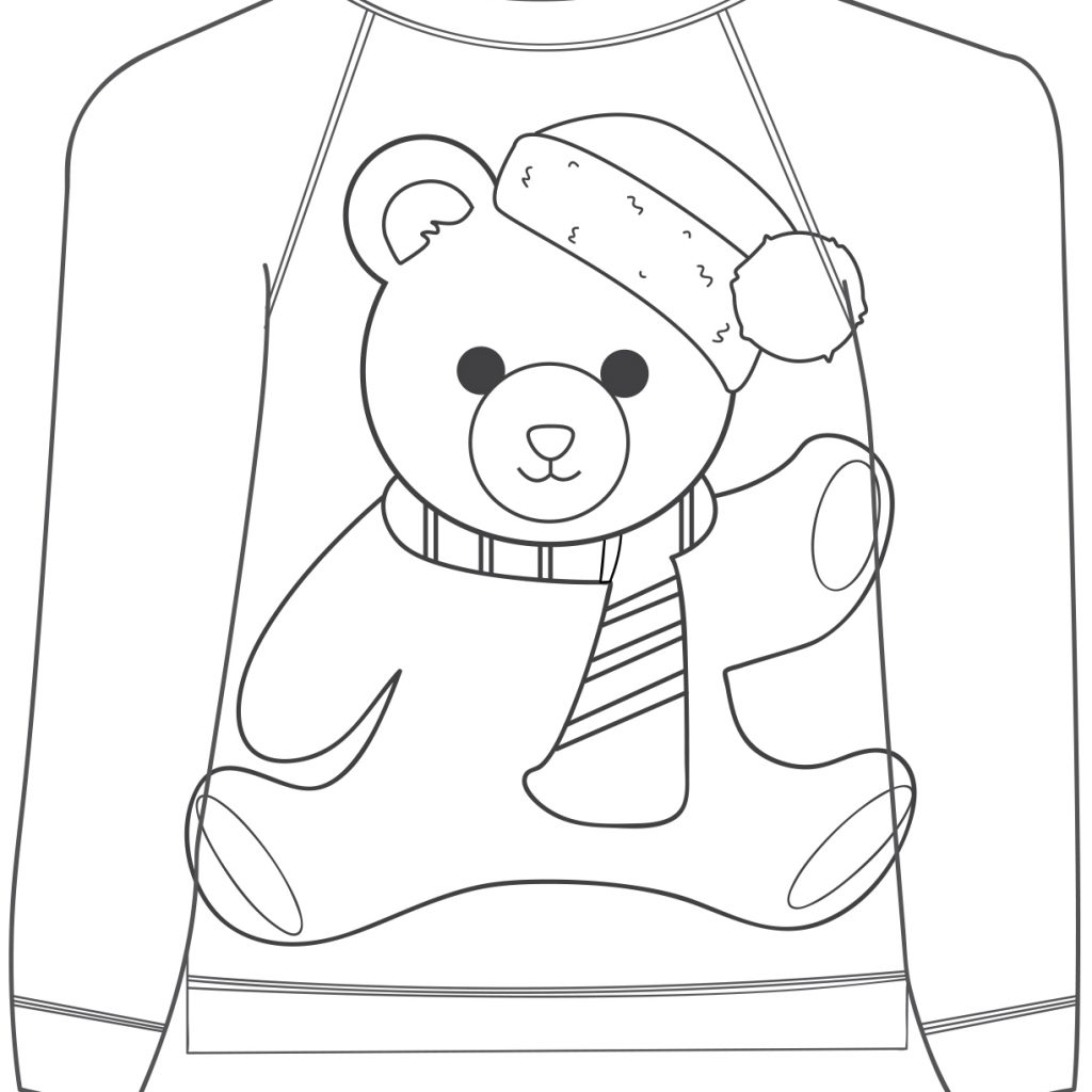 Ugly Christmas Sweater Coloring Pages With 16 Colouring Mum In The Madhouse