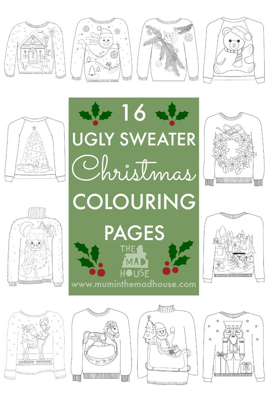 Ugly Christmas Sweater Coloring Pages With 16 Colouring Pinterest Ugliest