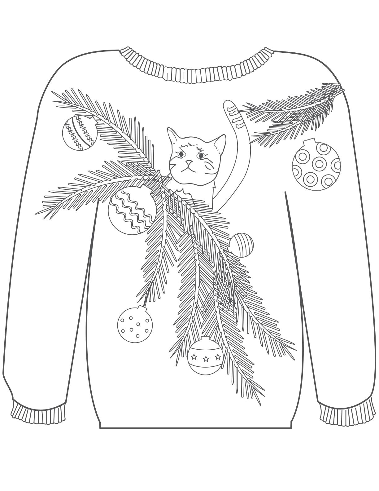 Ugly Christmas Sweater Coloring Pages With 16 Colouring Pinterest