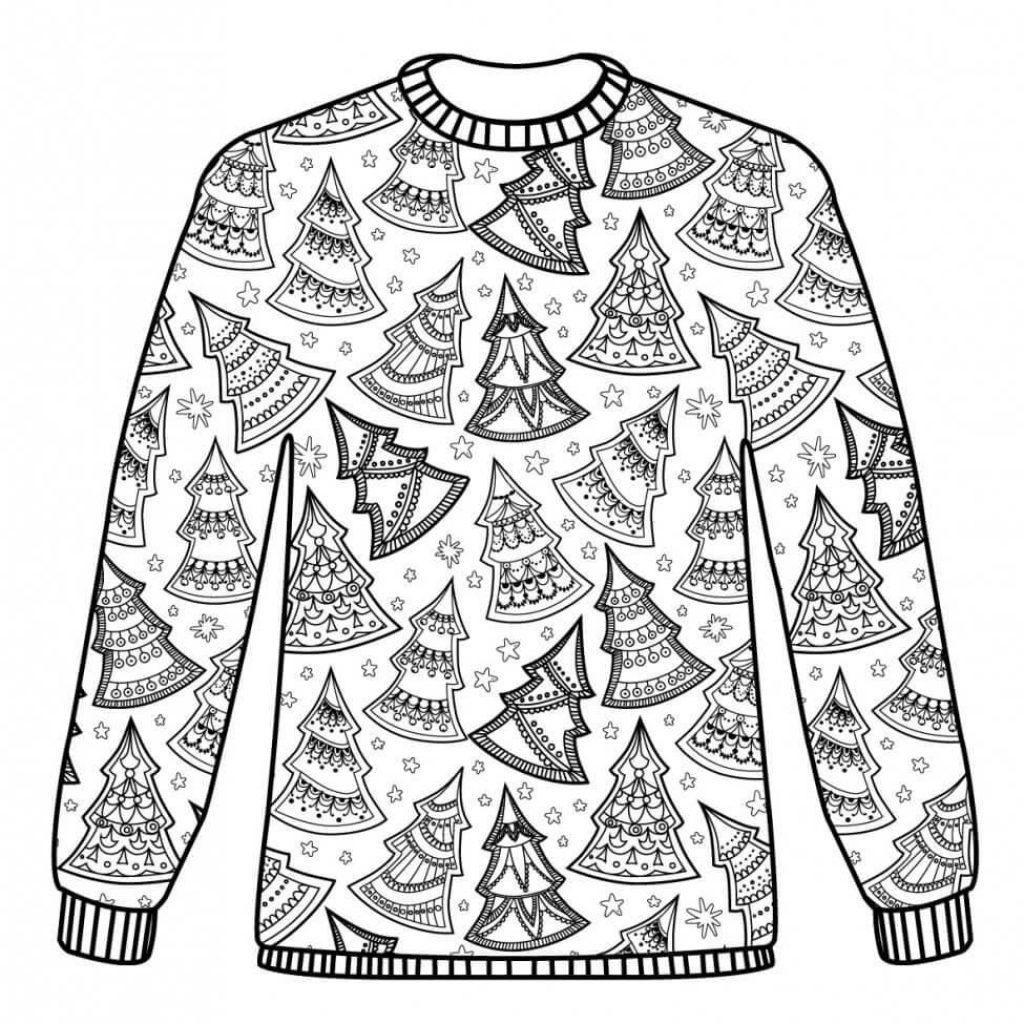 Ugly Christmas Sweater Coloring Pages With Coloriage Adulte Noel Dessin Imprimer Noël