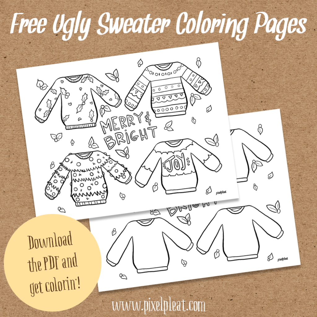Ugly Christmas Sweater Coloring Pages With Free For Grown Ups