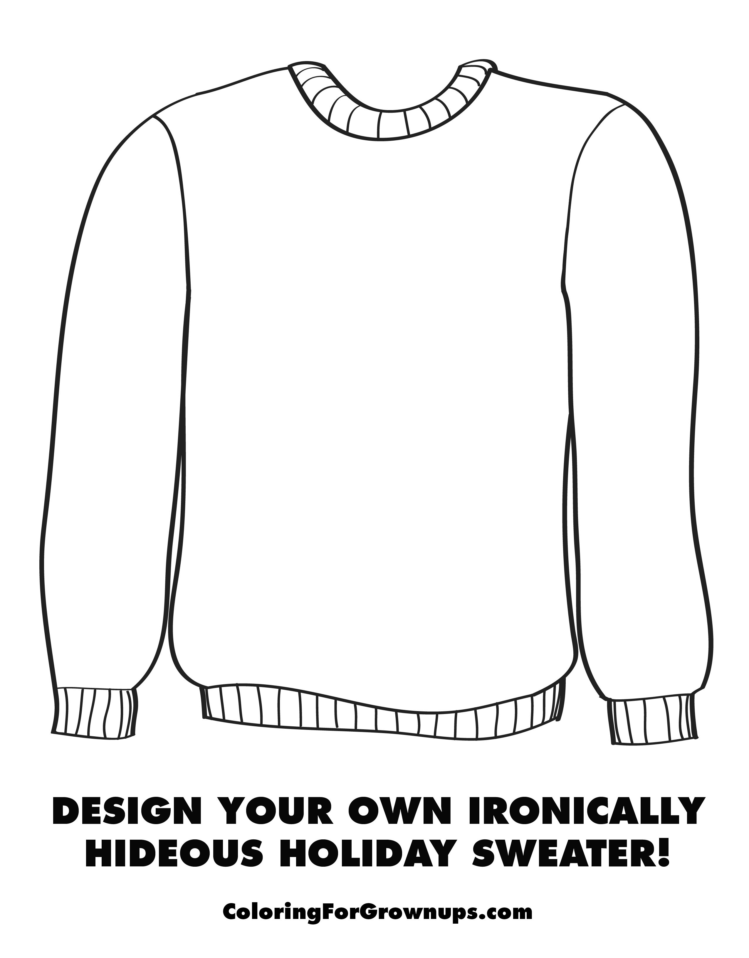 Ugly Christmas Sweater Coloring Pages With Holiday Page Activities Pinterest
