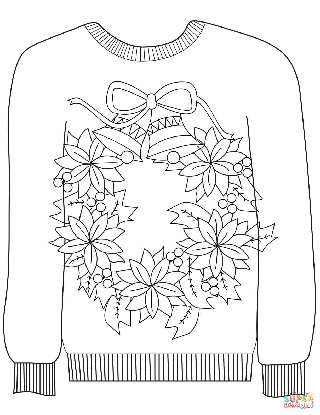 Ugly Christmas Sweater Coloring Pages With Sweaters Free
