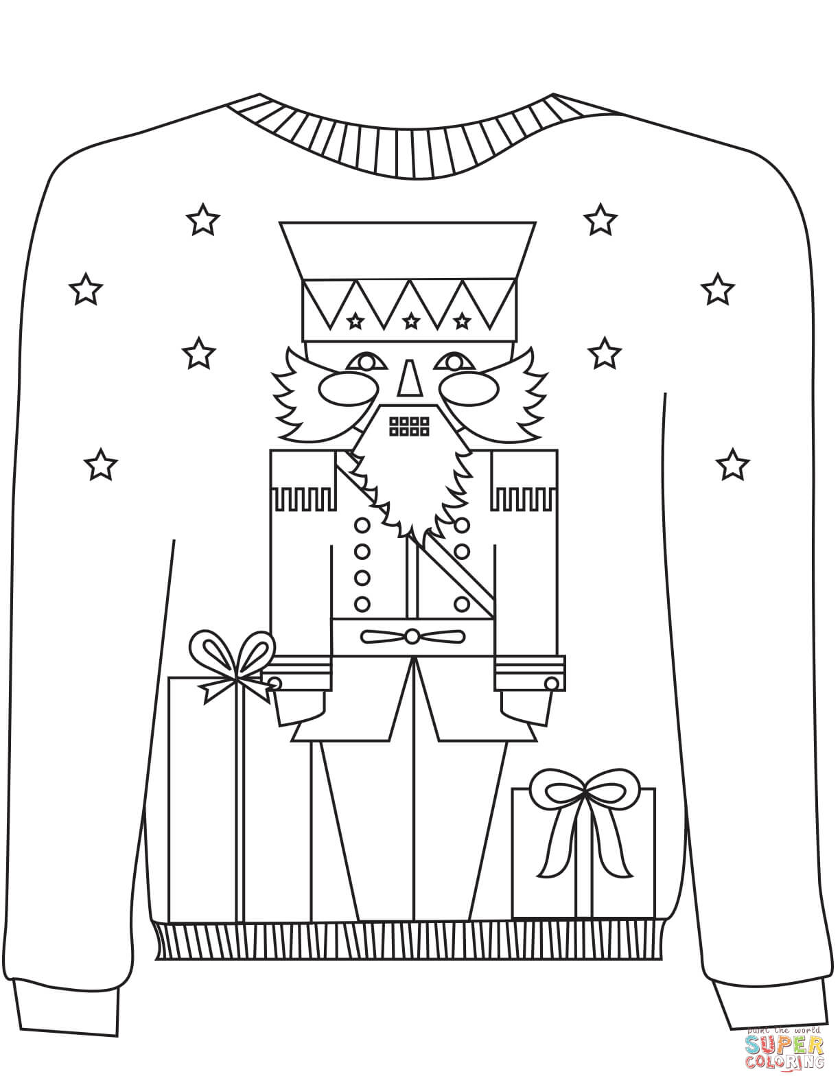 Ugly Christmas Sweater Coloring Pages With The Nutcracker Motif Page