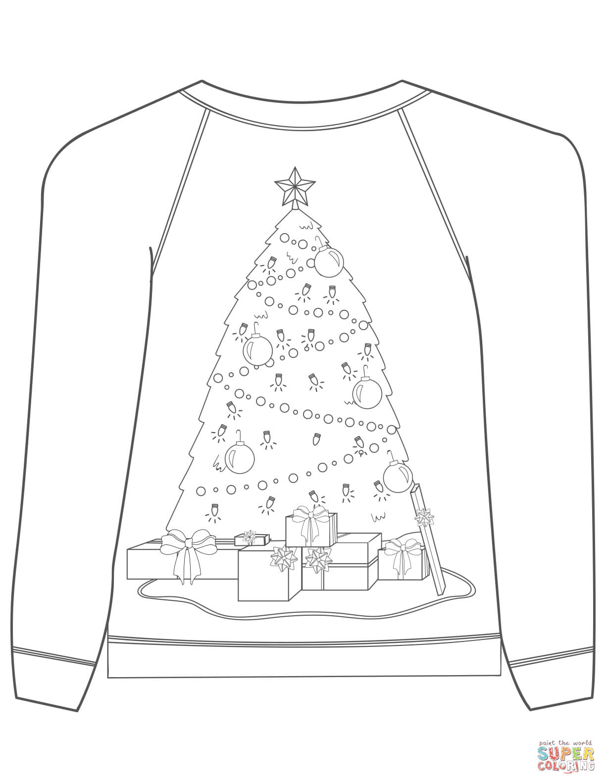 Ugly Christmas Sweater Coloring Pages With Tree Motif Page
