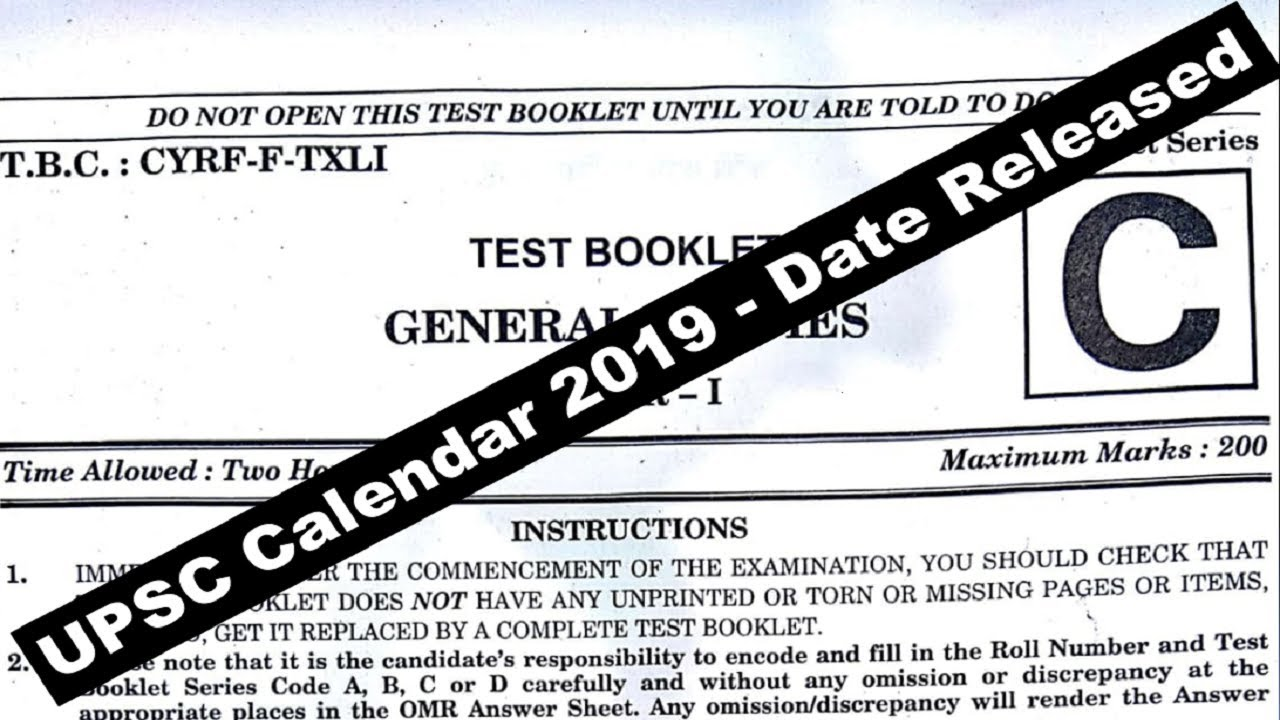 Upsc Year Calendar 2019 With UPSC Date Released Do Or Die IAS