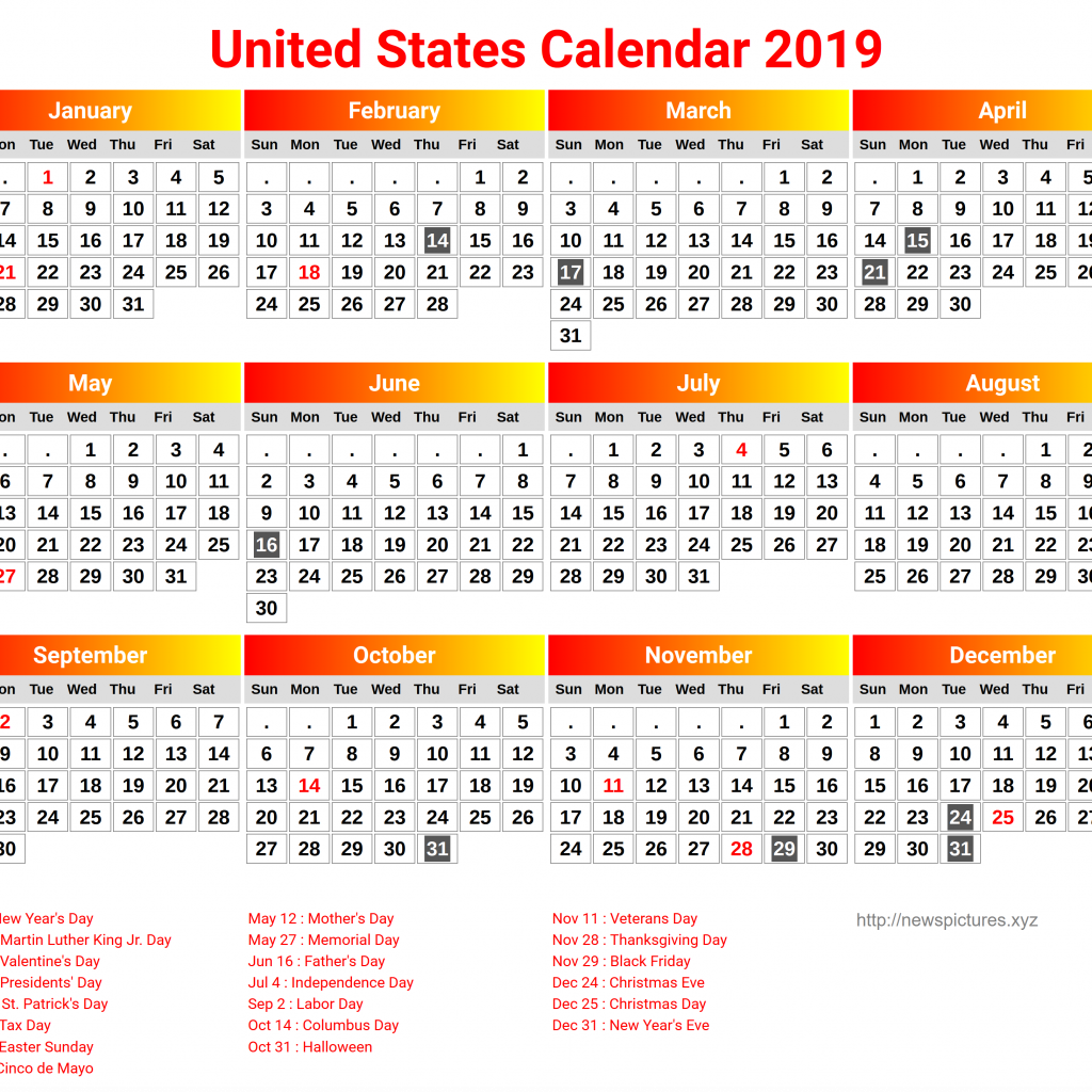 Us Fiscal Year 2019 Calendar With Yearly Holidays Printable Templates August 2018