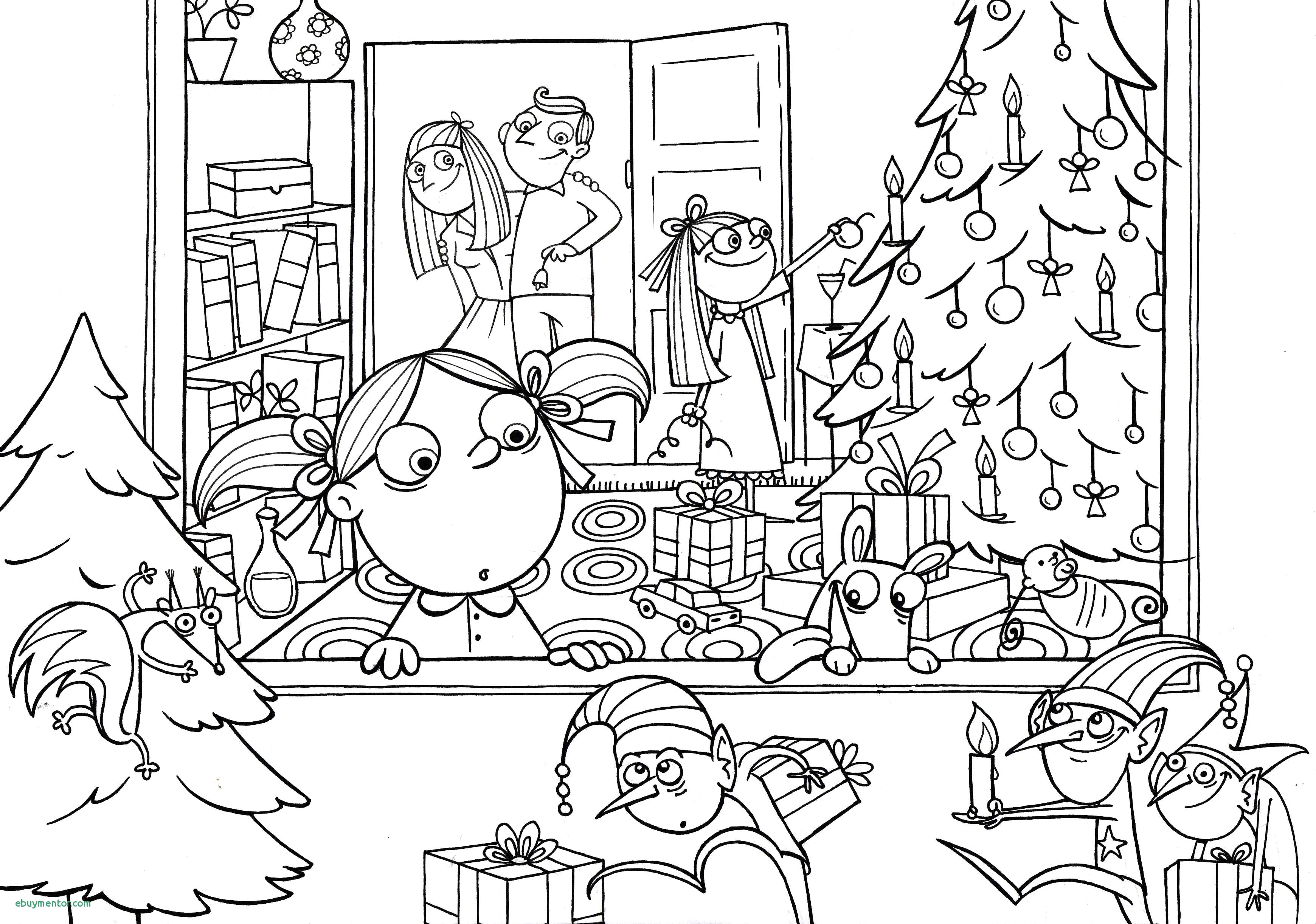 Very Detailed Christmas Coloring Pages With Difficult Printable For Kids