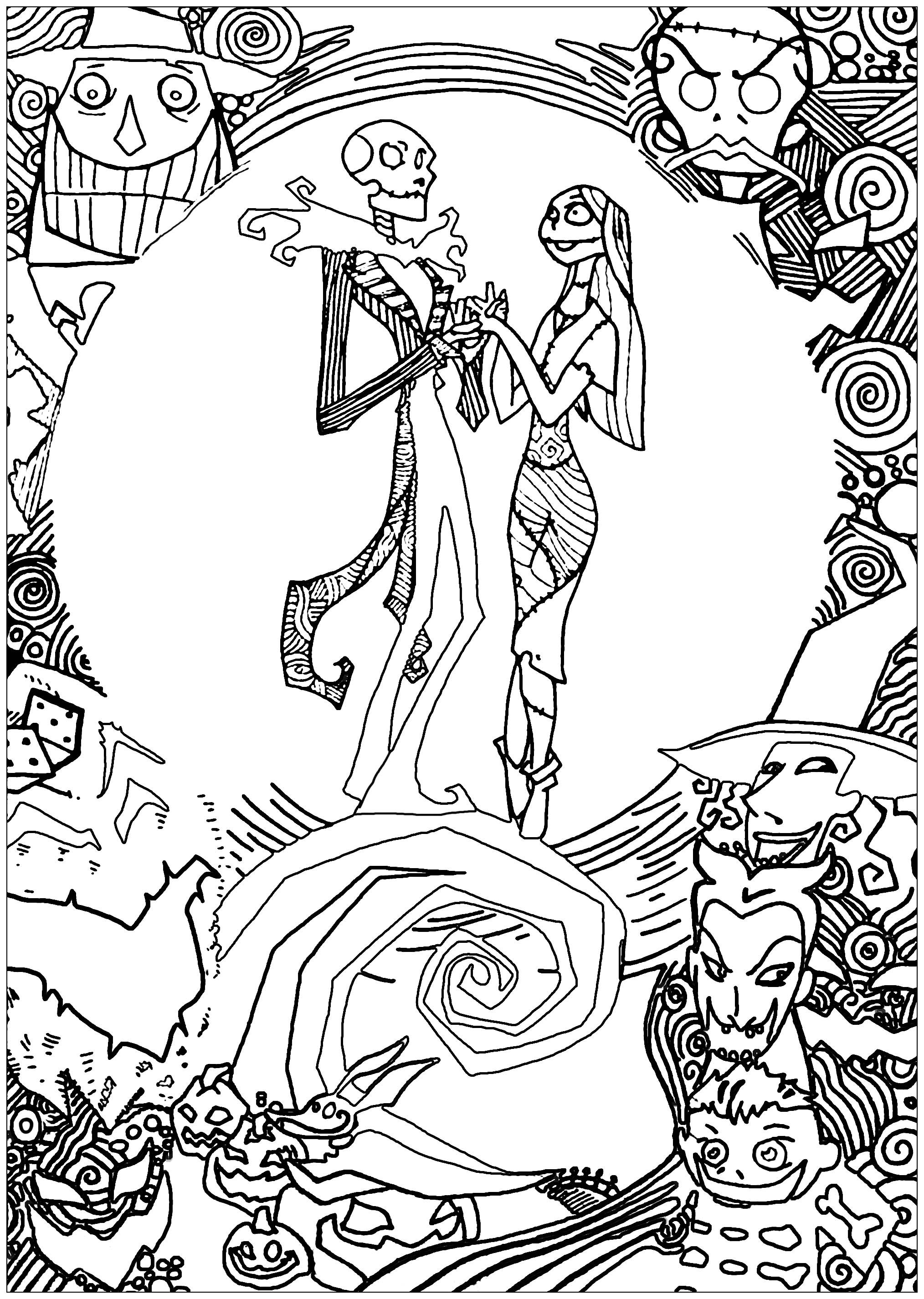 Very Detailed Christmas Coloring Pages With Nightmare Before For Adults Crafts And Arts