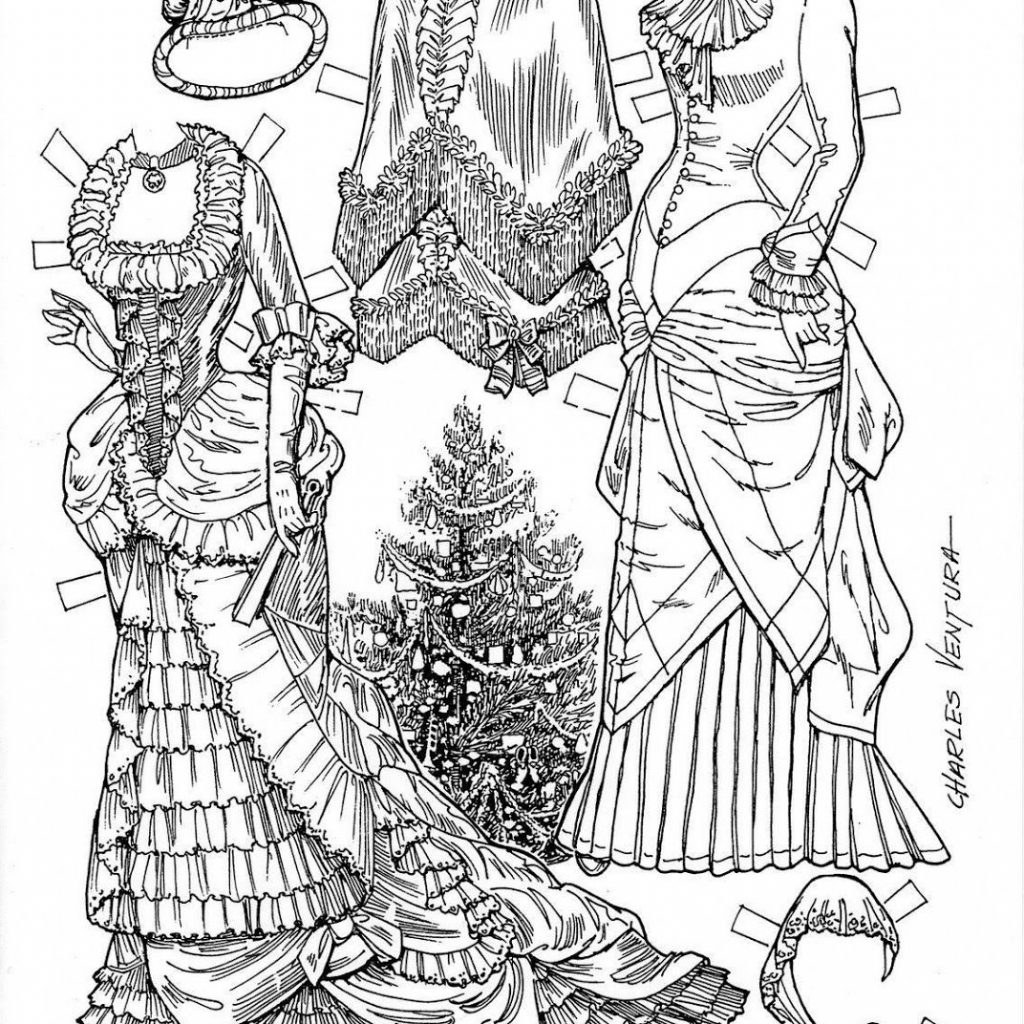 Victorian Christmas Coloring Book With Photo Charles Ventura Paper Dolls Pinterest