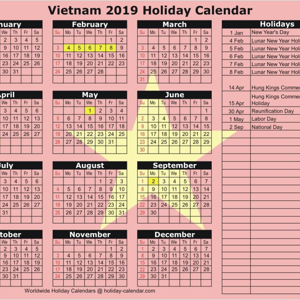 Vietnam School Year Calendar 2019 With 2018 Holiday