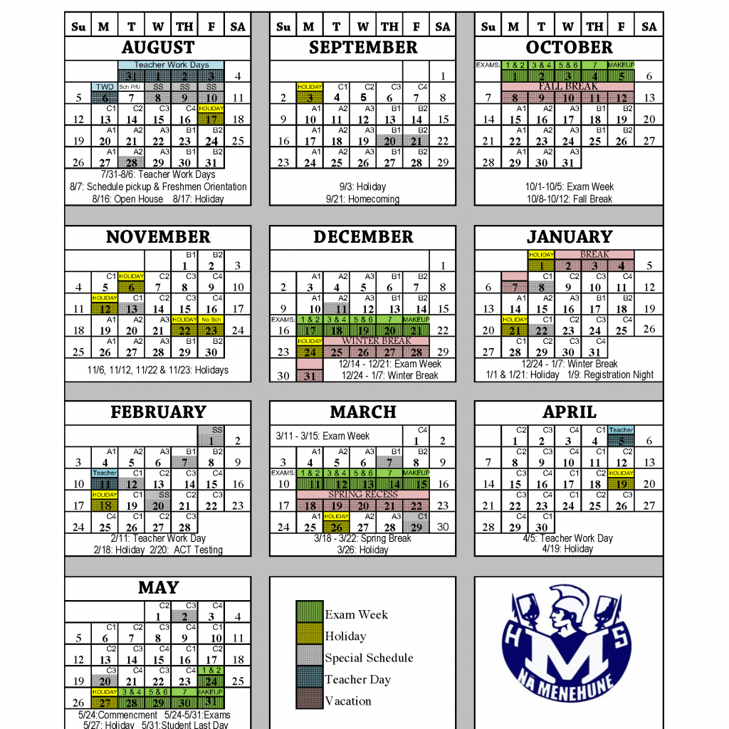 Vietnam School Year Calendar 2019 With A B C Parents Moanalua High