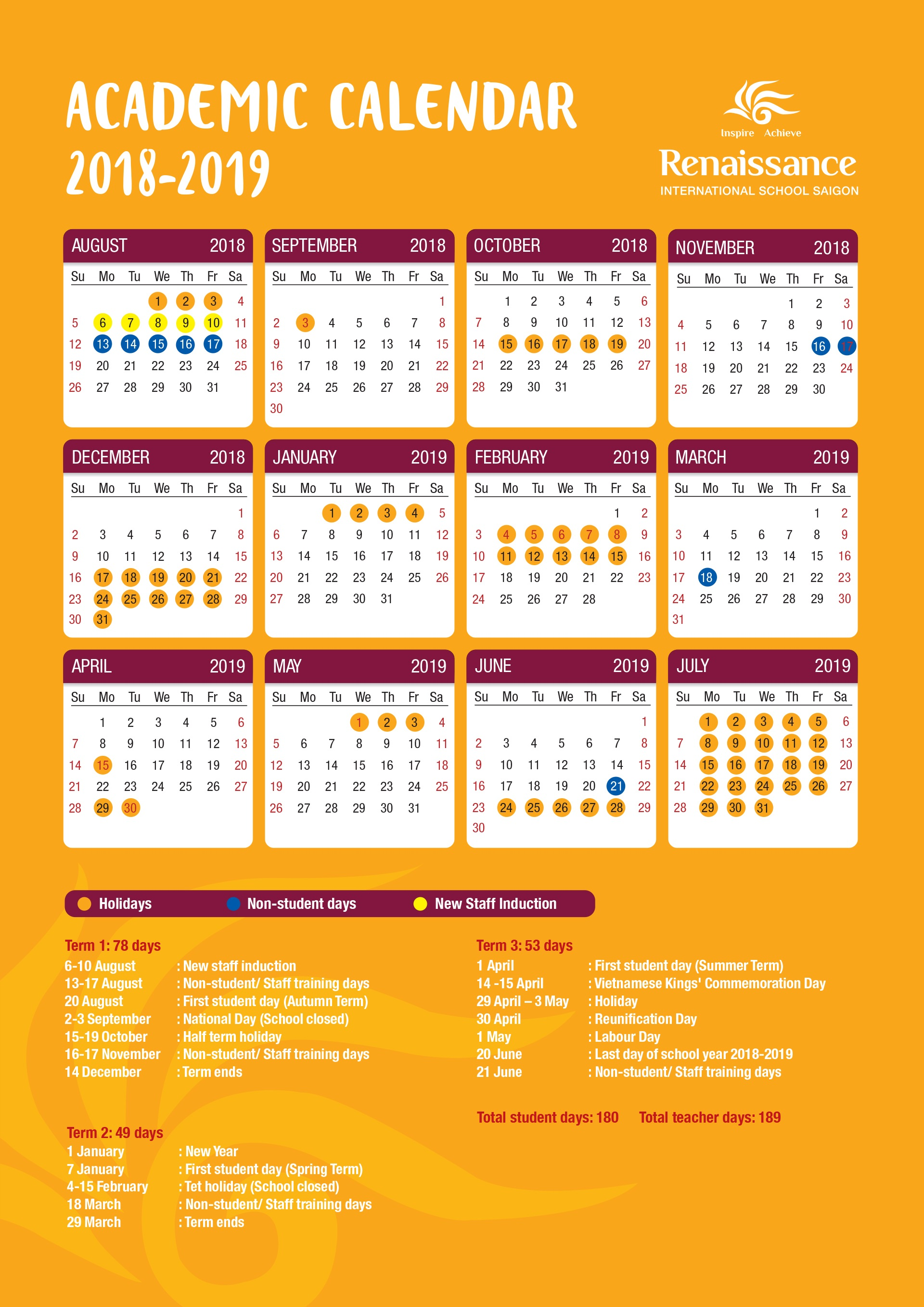 Vietnam School Year Calendar 2019 With ACADEMIC CALENDAR Renaissance International Saigon