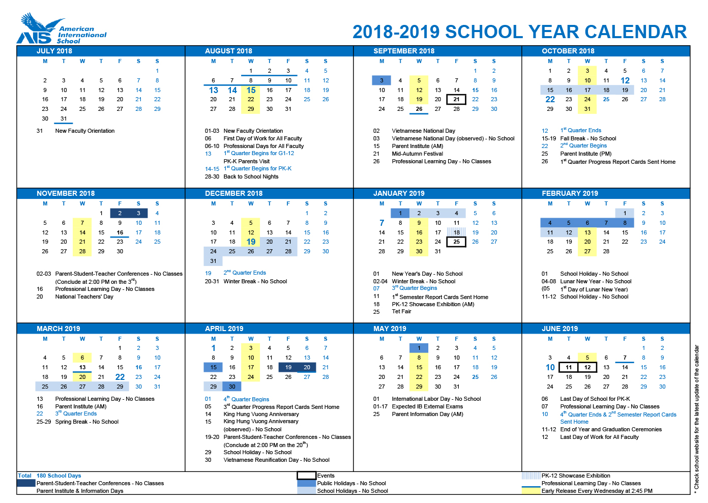 Vietnam School Year Calendar 2019 With American International