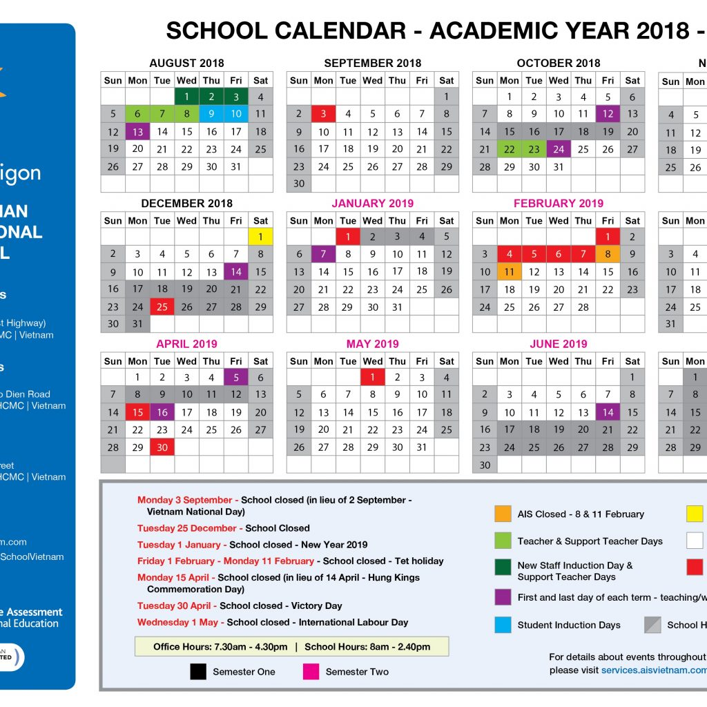 Vietnam School Year Calendar 2019 With Australian International