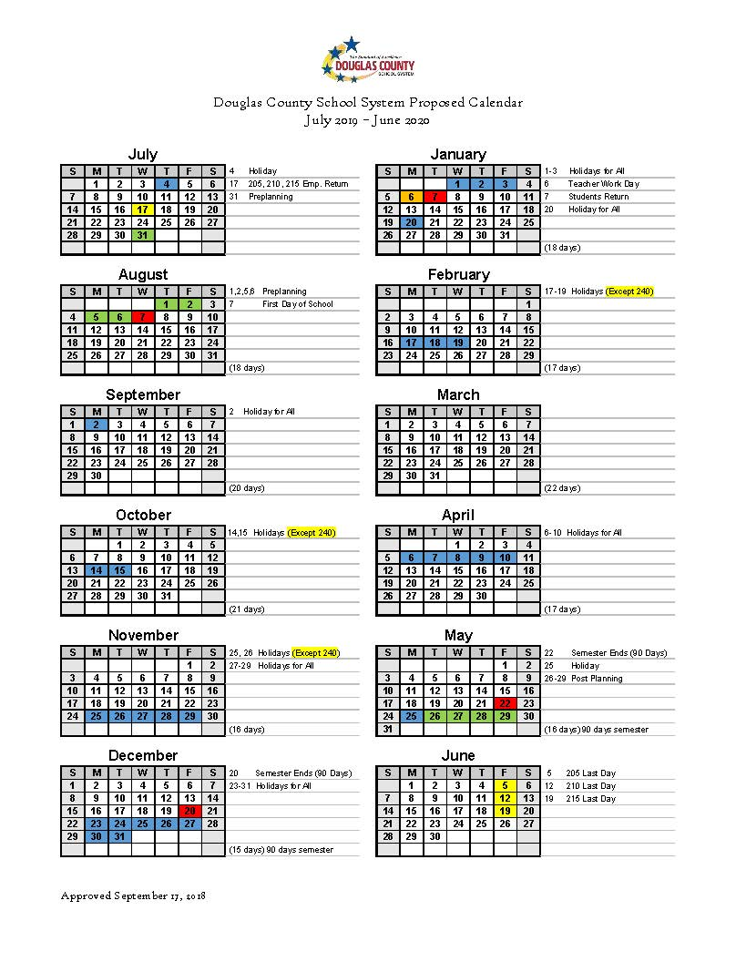 Vietnam School Year Calendar 2019 With Set For 2020 Douglas County System