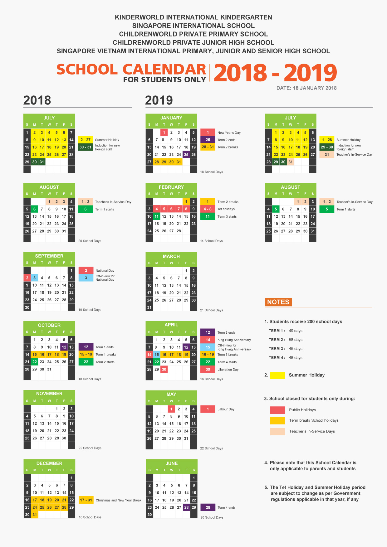 Vietnam School Year Calendar 2019 With Singapore International Van Phuc