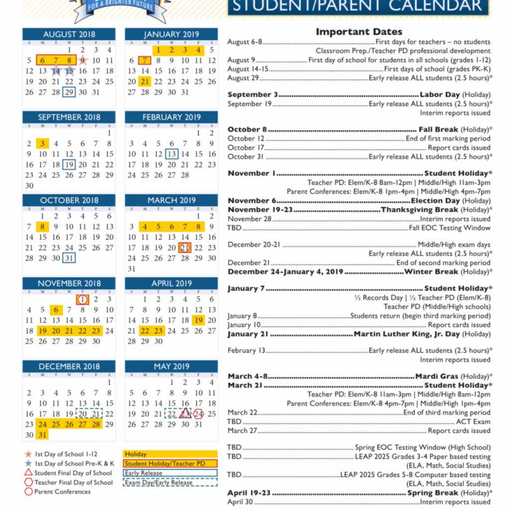 Vietnam School Year Calendar 2019 With View Our 2018 19 Academic Jefferson Parish Public