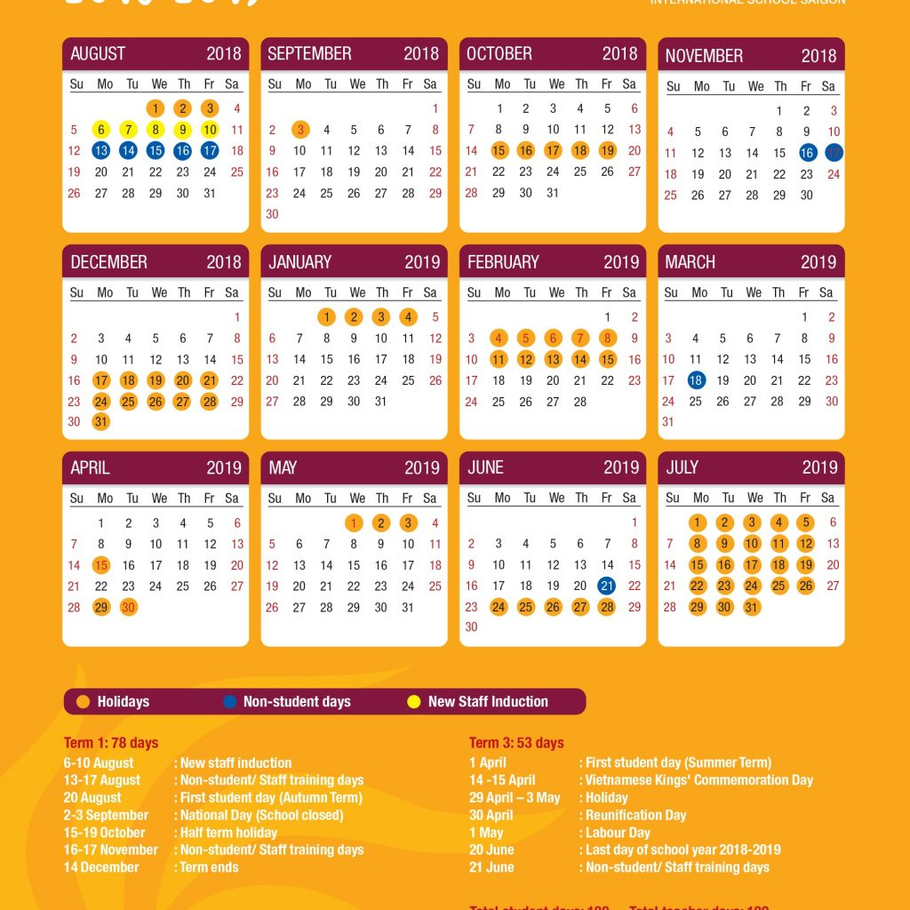 Vietnamese New Year 2019 Calendar With ACADEMIC CALENDAR Renaissance International School Saigon