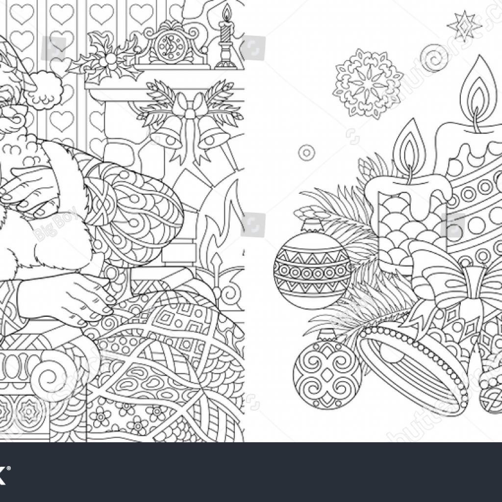 Vintage Christmas Coloring Book Pages With Colouring Adults Stock Vector Royalty