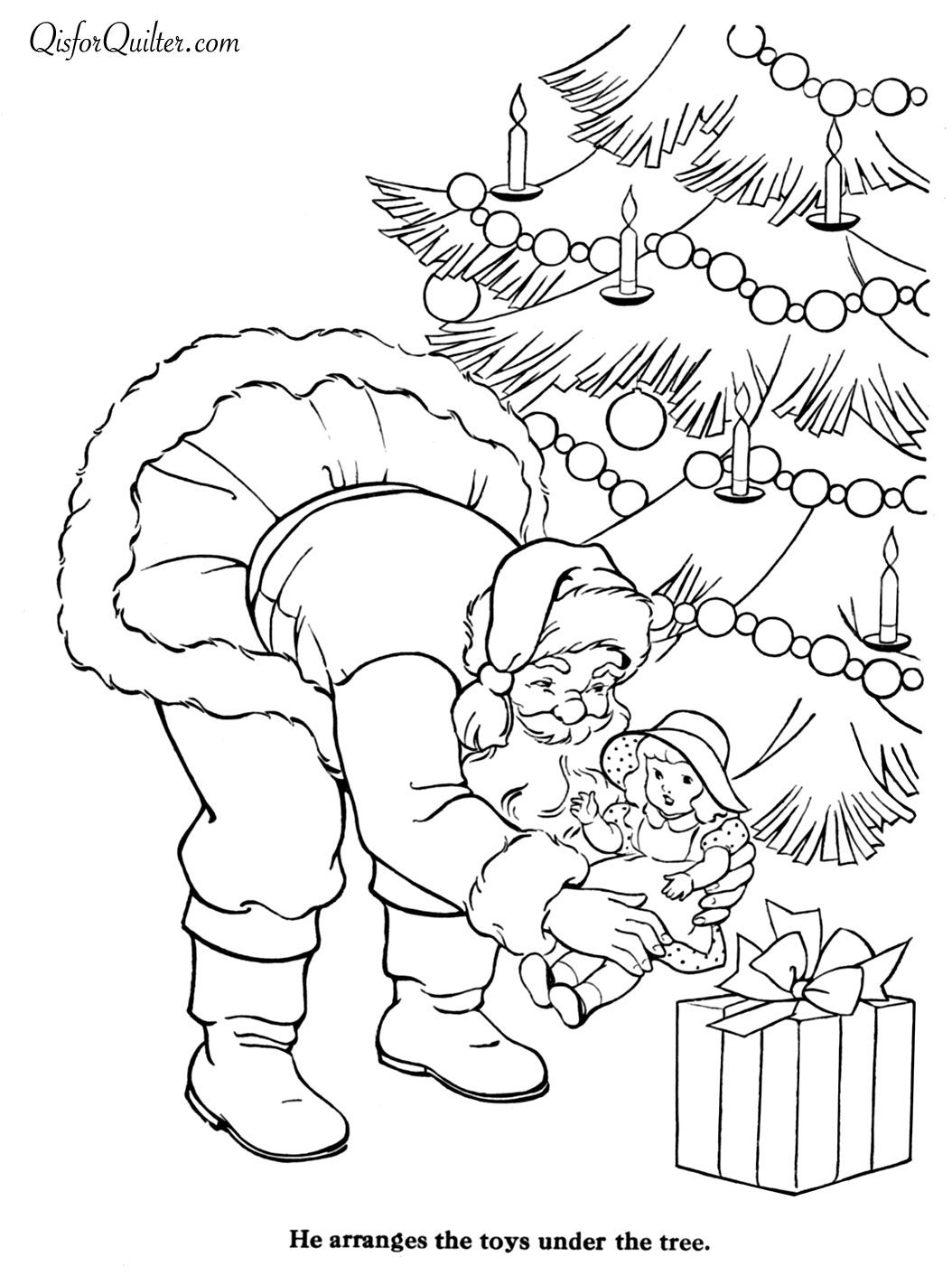 Vintage Christmas Coloring Book Pages With Countdown To 1 Day Santa Quilt Pinterest