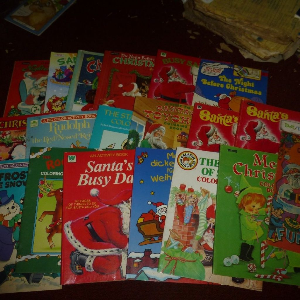 Vintage Christmas Coloring Book Pages With LOT OF 18 Books Santa Reindeer Many