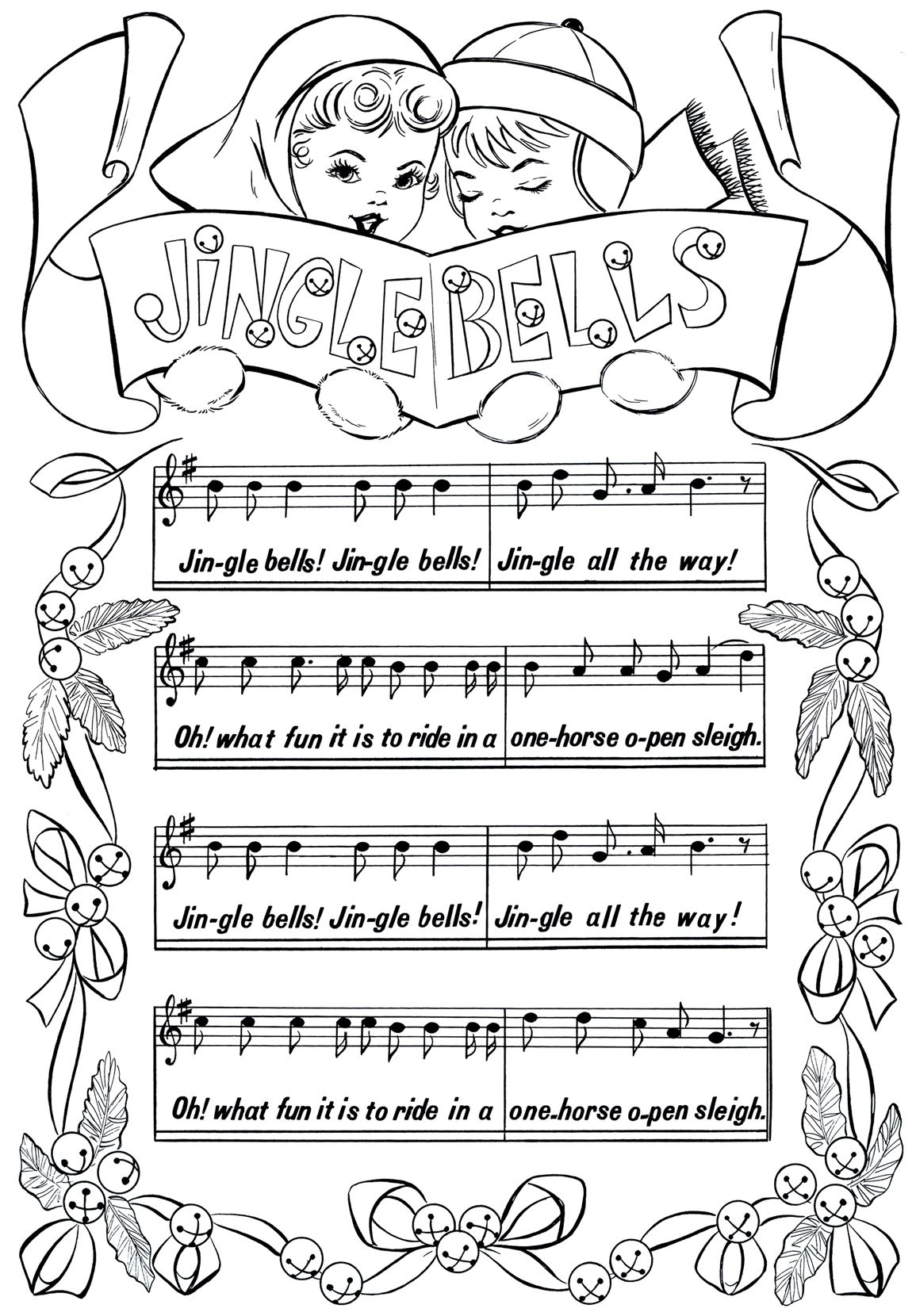 Vintage Christmas Coloring Book Pages With Printable Page Jingle Bells Printables