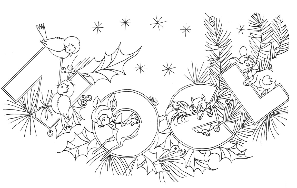 Vintage Christmas Coloring Book Pages With