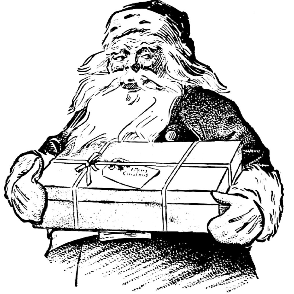 Vintage Santa Coloring Page With Christmas Clip Art Gift The Graphics Fairy