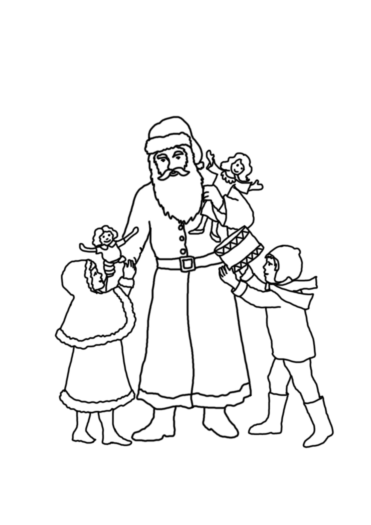 Vintage Santa Coloring Page With Christmas Pages