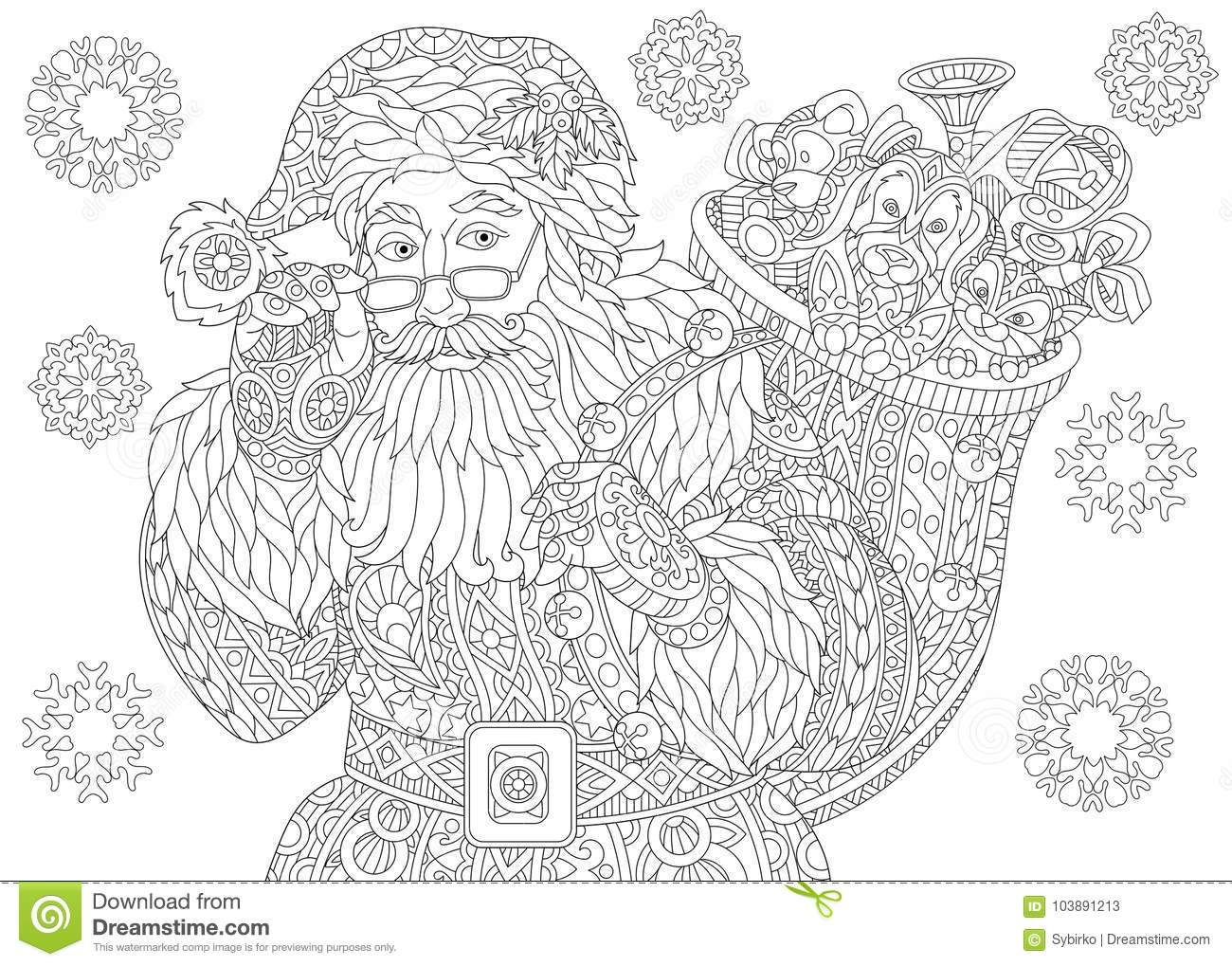 Vintage Santa Coloring Page With Claus And Christmas Snowflakes Stock Vector