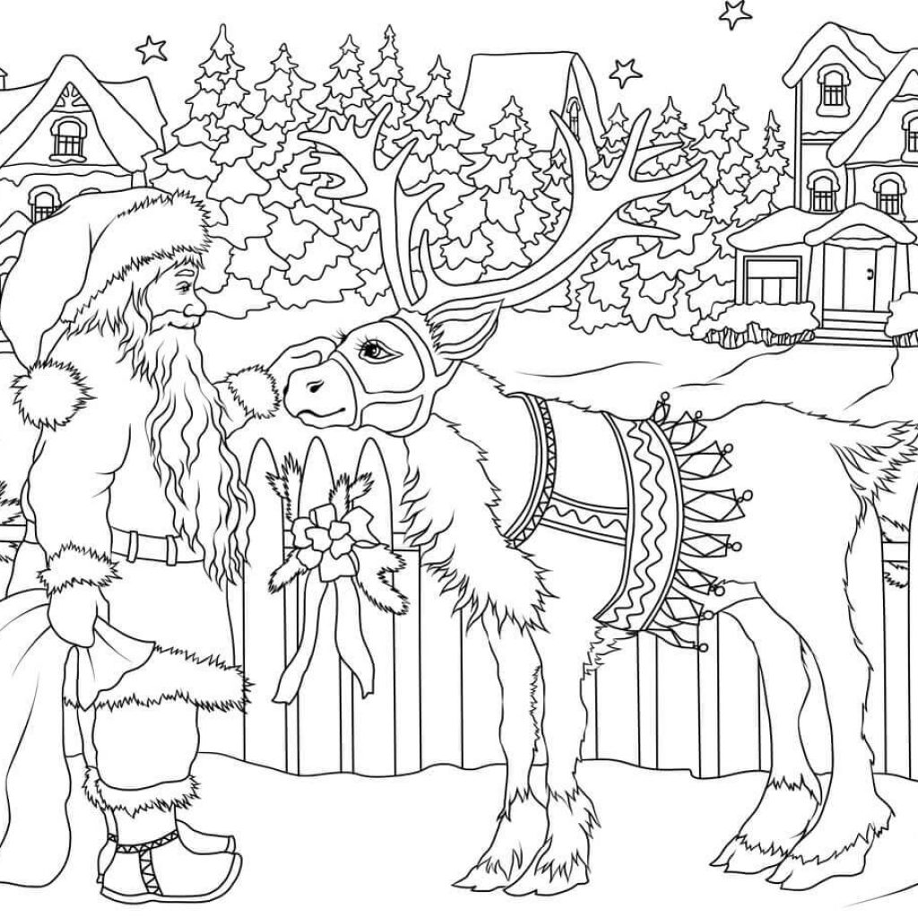 Vintage Santa Coloring Page With Claus His Christmas Deer Free