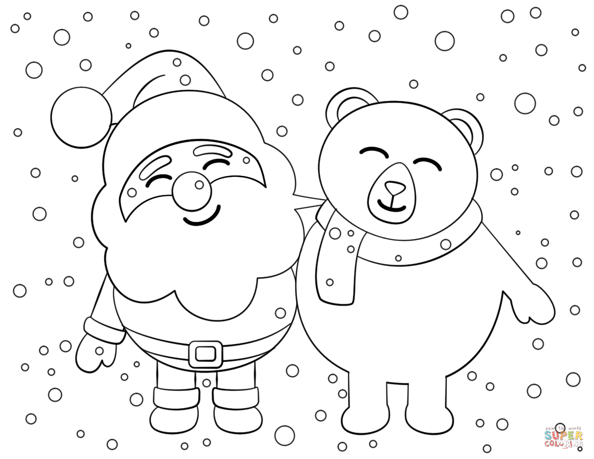 Vintage Santa Coloring Page With Claus Pages Free