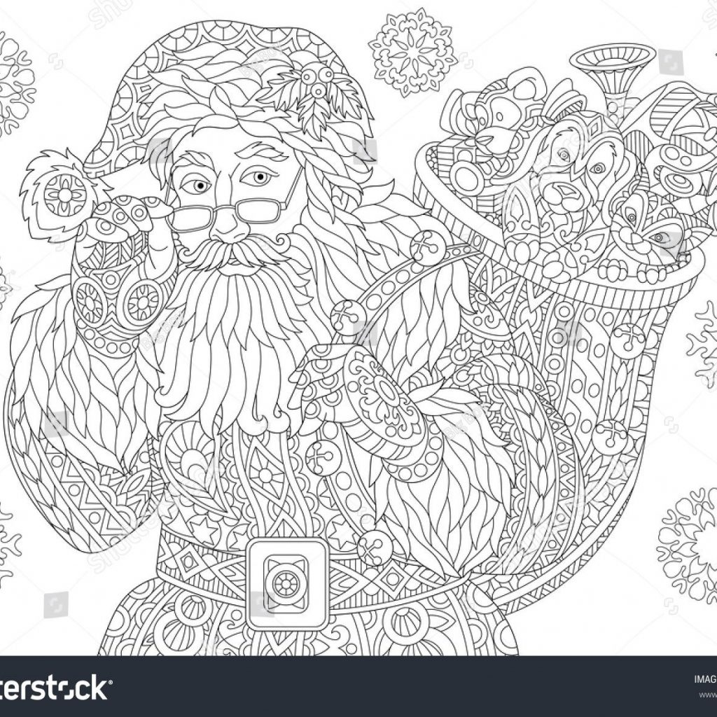 Vintage Santa Coloring Page With Of Claus Full Bag Holiday Gifts