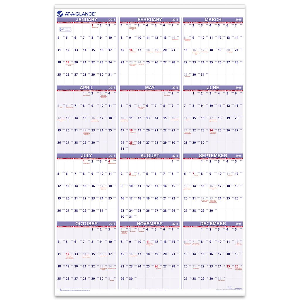 Walmart Fiscal Year 2019 Calendar With Amazon Com AT A GLANCE Yearly Wall 2015 24 X 36 Inch