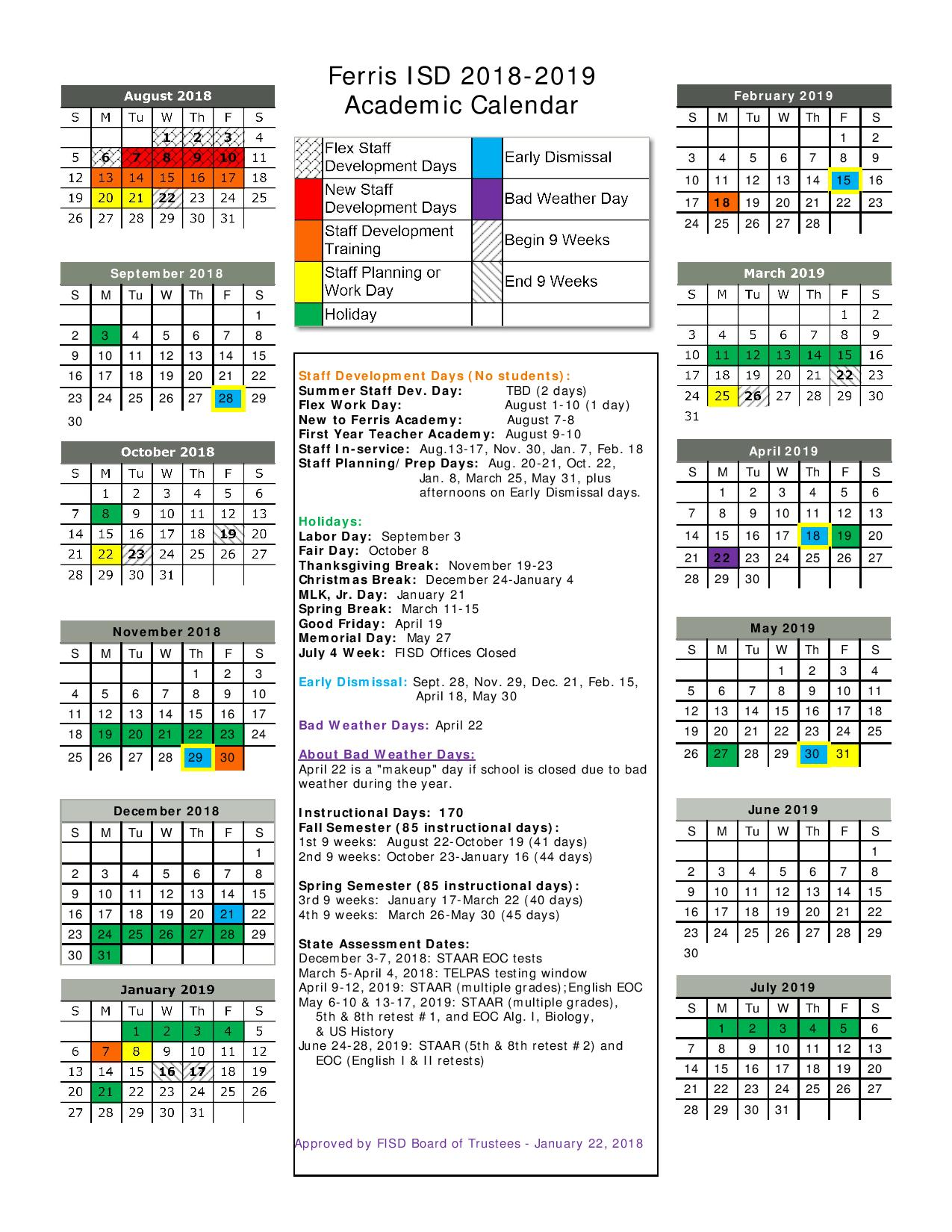 Walmart Fiscal Year 2019 Calendar With District 2018 Student Handbook And Code Of Conduct