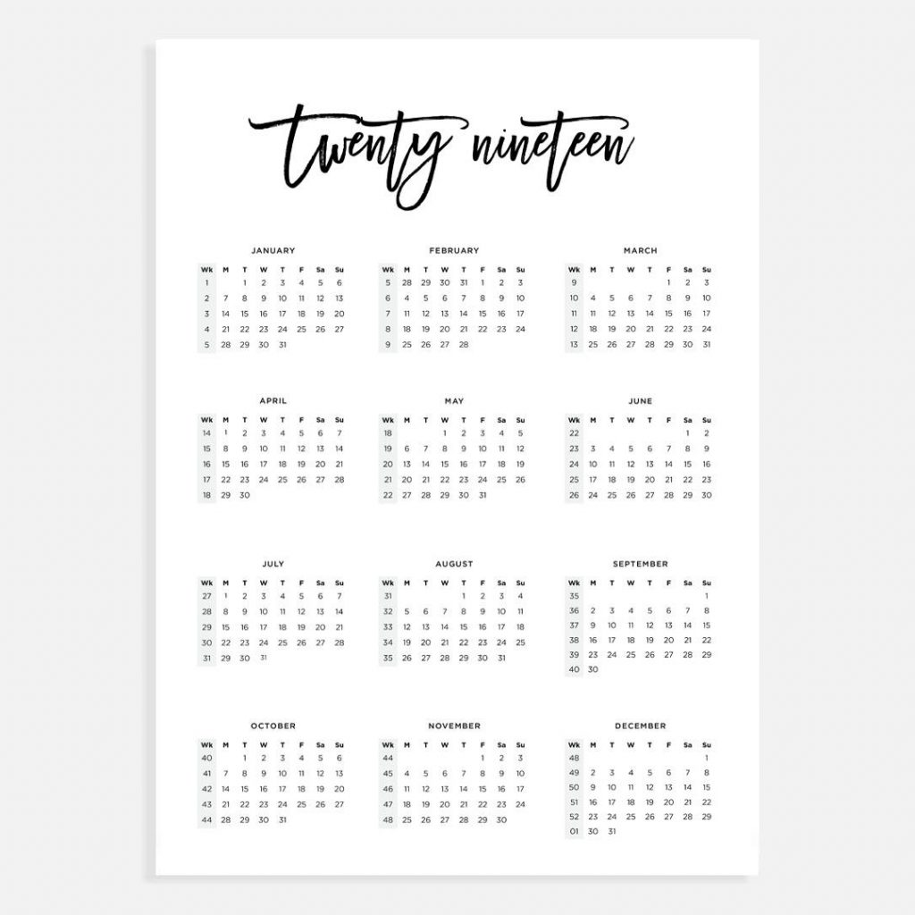 Week Of Year Calendar 2019 With A3 Numbers Etsy