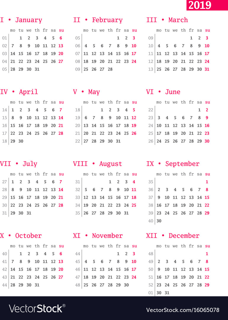 Week Of Year Calendar 2019 With For Numbers On White Vector Image