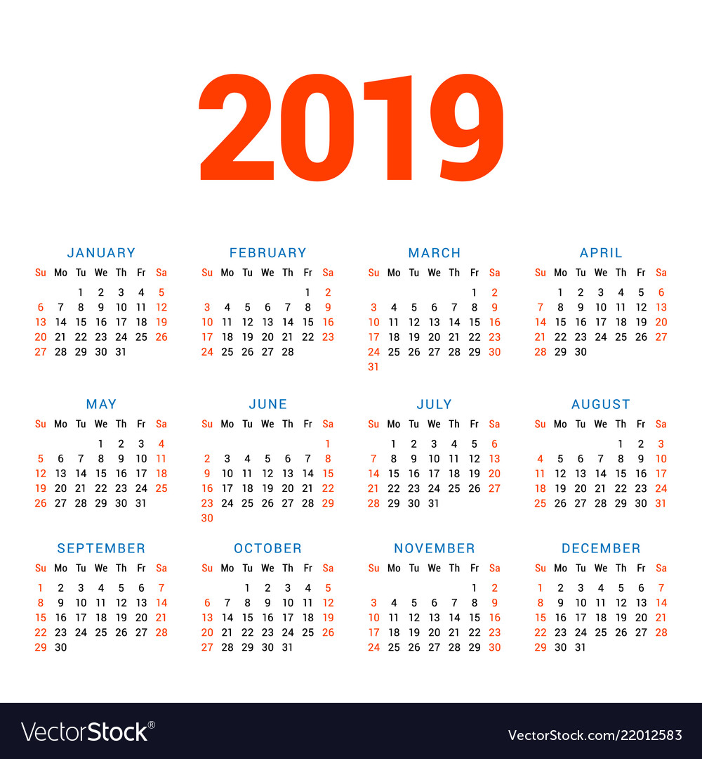 Week Of Year Calendar 2019 With For On White Background Vector Image