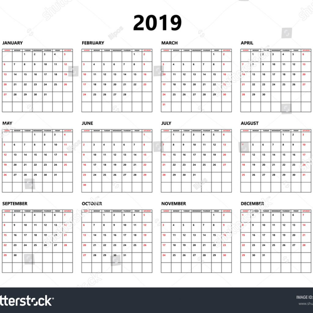 Week Of Year Calendar 2019 With Simple Style Grid Stock Vector Royalty Free