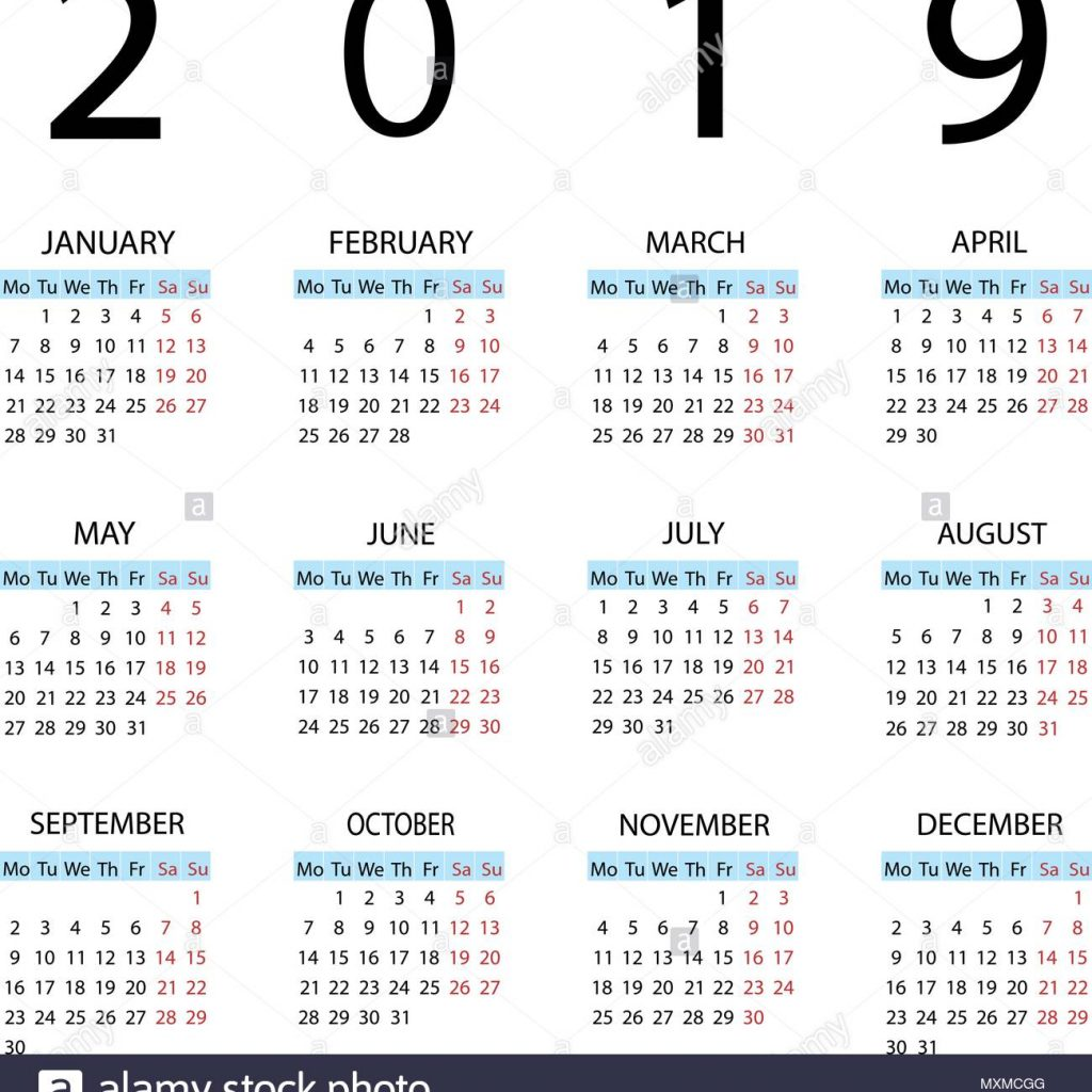 Week Of Year Calendar 2019 With Starts Monday Stock Vector Art