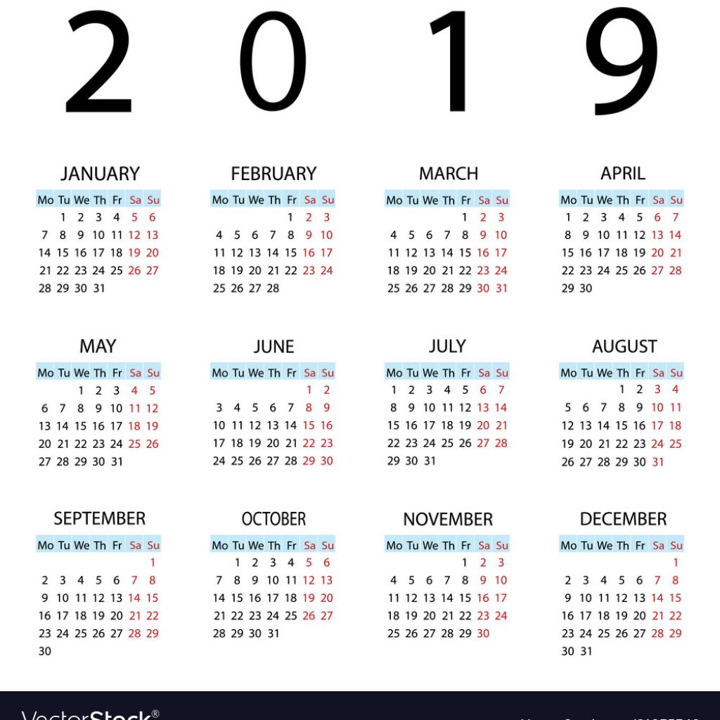 Week Of Year Calendar 2019 With Starts Monday Vector Image