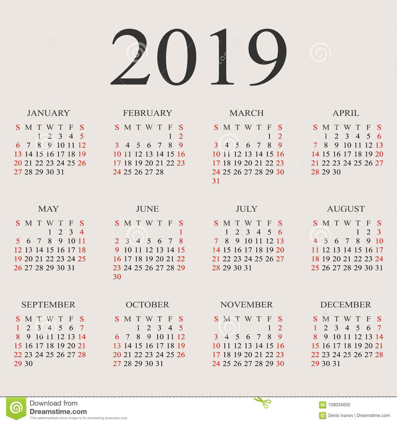 Week Of Year Calendar 2019 With Vector Design Template Stock