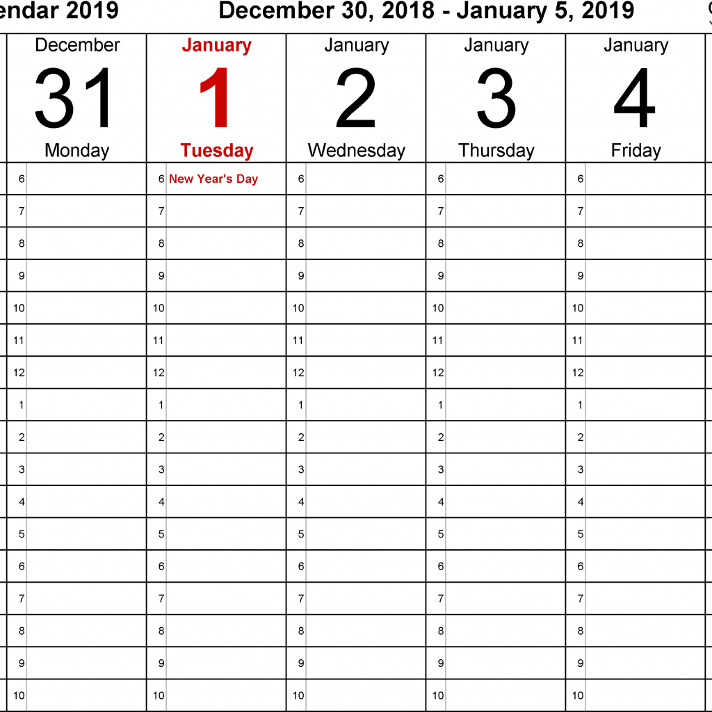Week Of Year Calendar 2019 With Weekly For Excel 12 Free Printable Templates