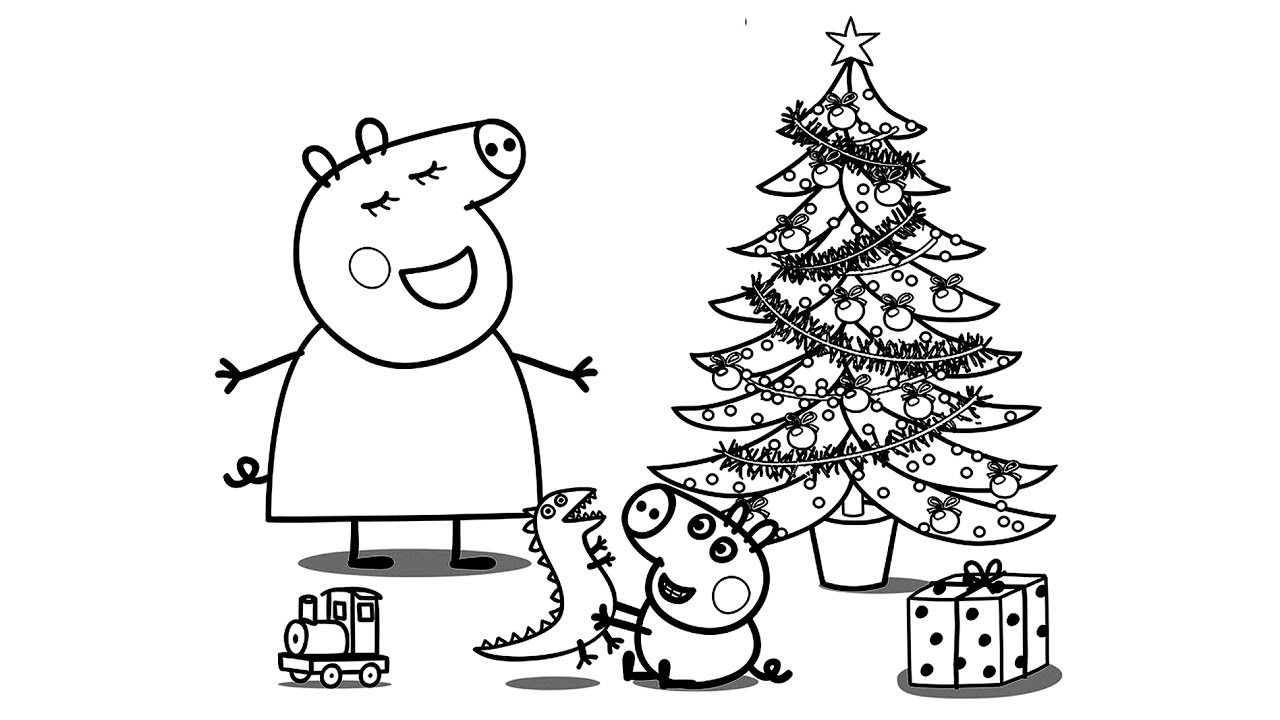 Xmas Coloring Book Pages With Peppa Pig Christmas For Kids Learn Colours Art