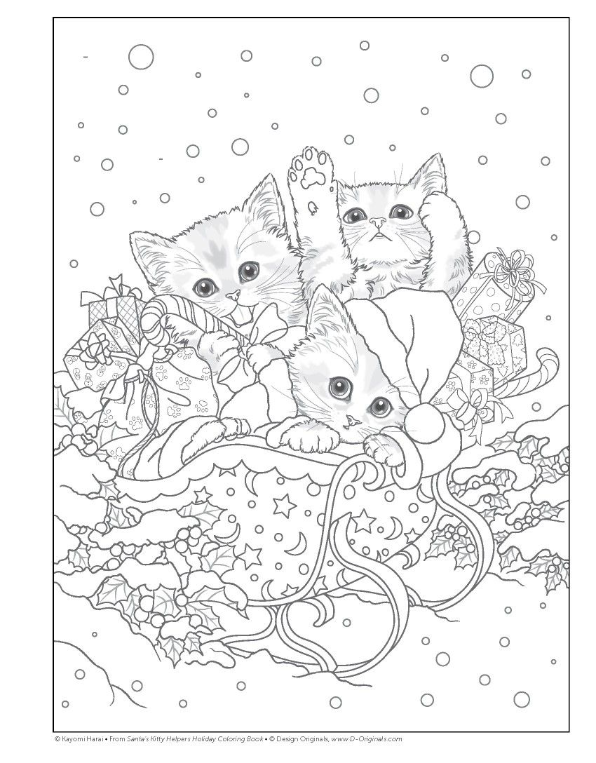 Xmas Coloring Book Pages With Trio Kitties Pinterest Books