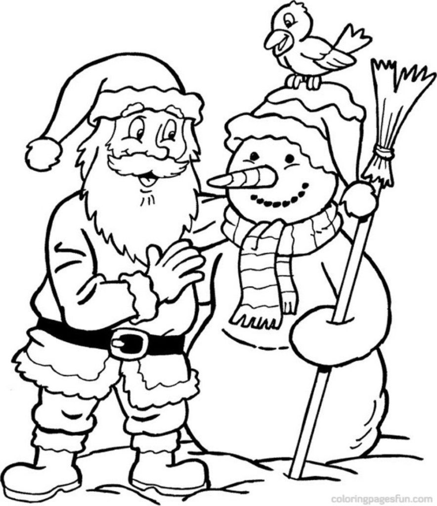 Xmas Coloring Pages To Print With Lovely Santa On