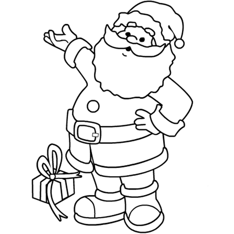 Xmas Coloring Pages To Print With Santa For Kids