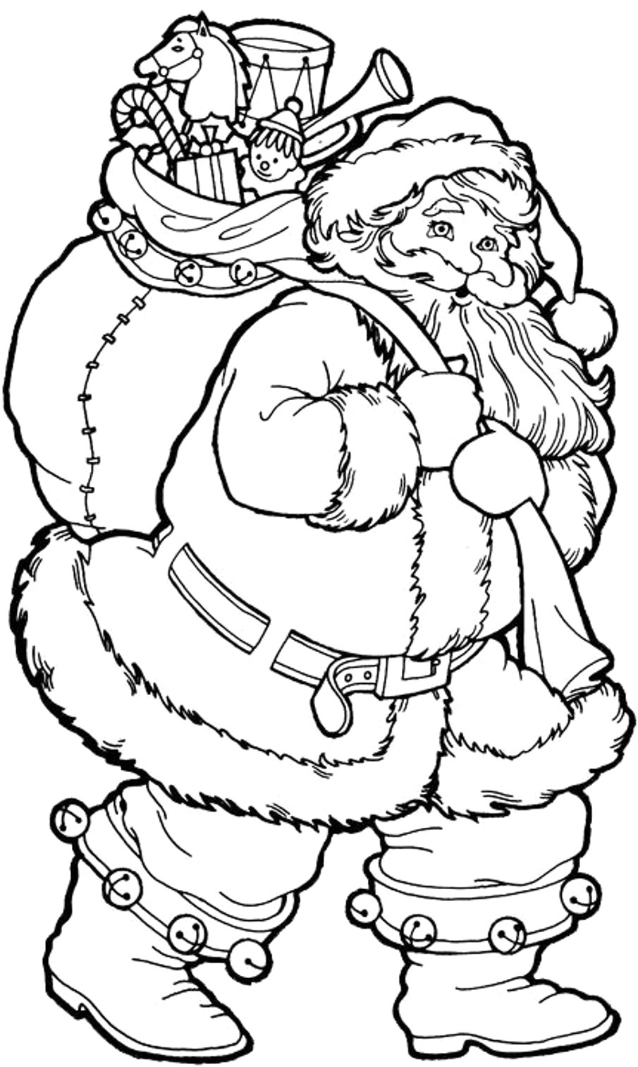 Xmas Coloring Pages With Christmas Tree And Santa Download 17 G Printable